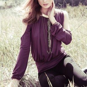 Akiko Cold Shoulder Long Sleeve Soft Top Black M